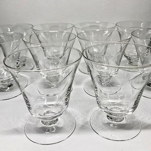Verres à eau vintage en verre gravé