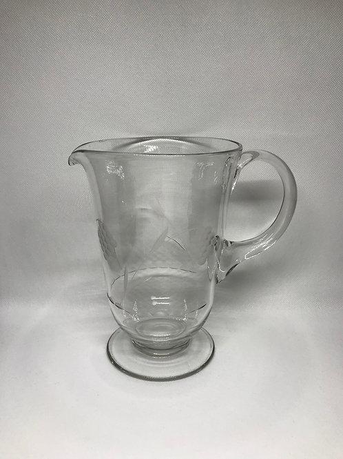 Pichet à eau vintage en verre gravé
