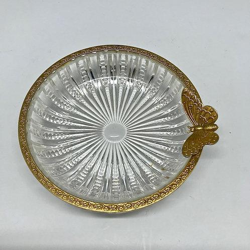 Vide poche vintage en cristal prise papillon doré