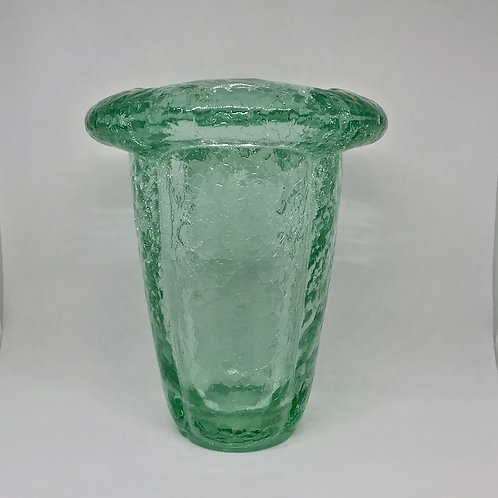 Vase en verre craquelé vert
