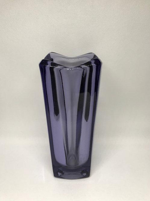 Vase vintage verrerie Rosice coloris améthyste