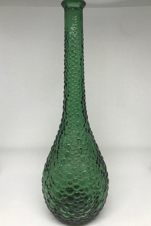 Bouteille vintage en verre moulé vert Empoli