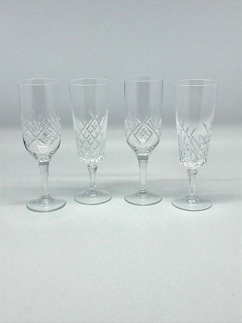 Flûtes à Champagne vintage en cristal taillé