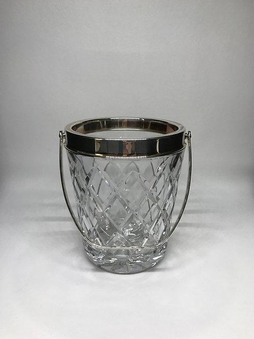Seau à glaçons vintage en cristal et métal argenté