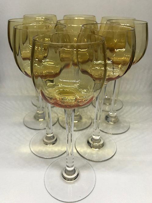 Verres à vin vintage en cristal coloris ambre
