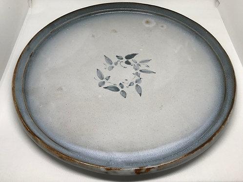Plat vintage en céramique gris/bleu
