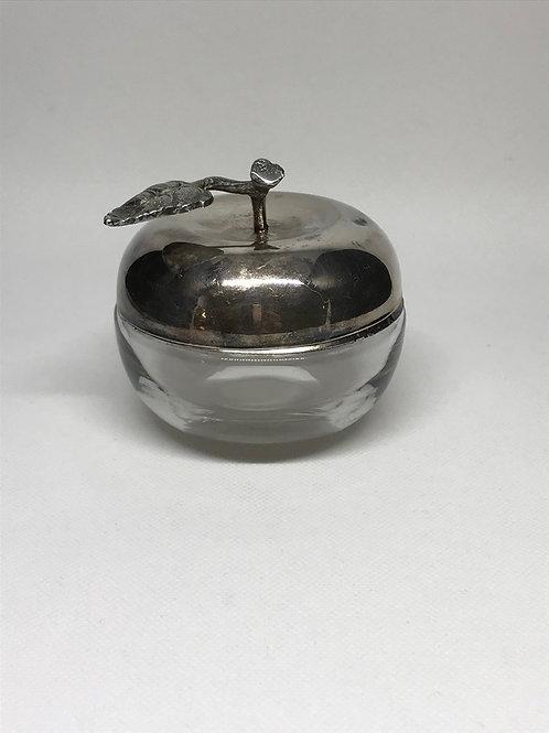 Boîte pomme vintage en verre et métal argenté