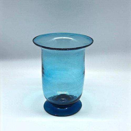 Vase vintage en verre soufflé bleu