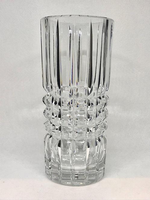 Vase tubulaire vintage en cristal taillé