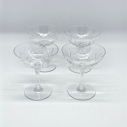 Coupes à champagne vintage en cristal taillé