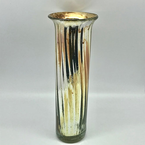 Vase vintage cylindrique en verre et argent, Mexico