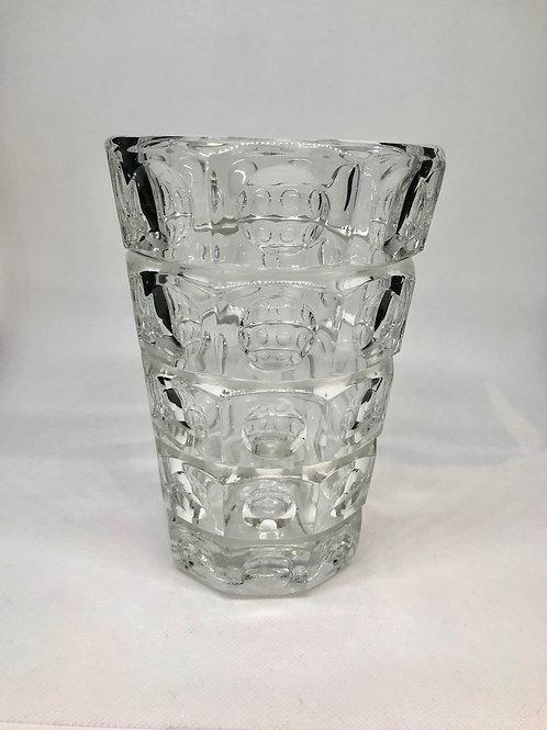 Vase évasé vintage en verre épais