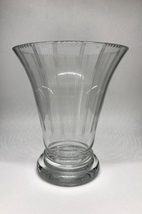 Vase art déco en verre gravé
