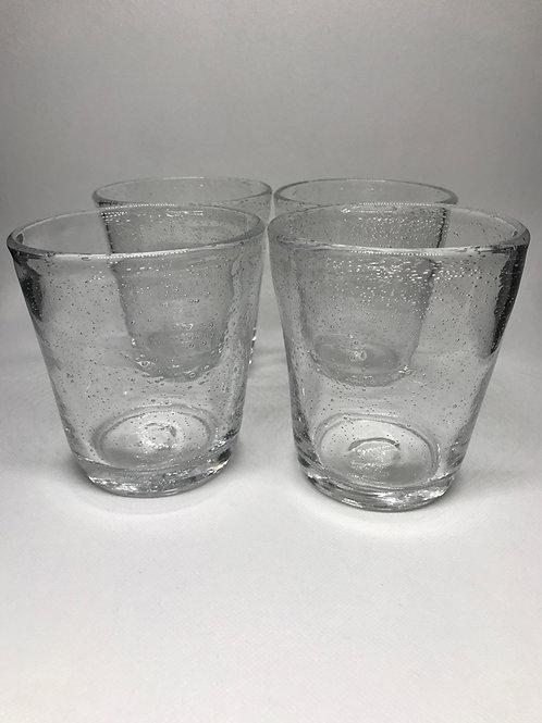 Verres à eau vintage en verre soufflé bullé