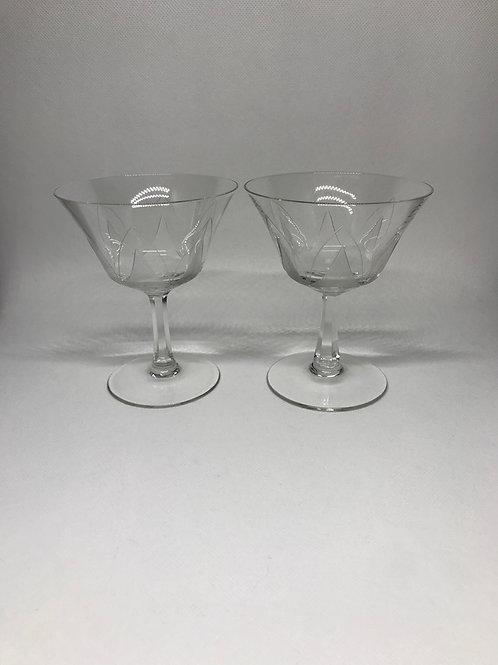 Coupes à Champagne en verre gravé