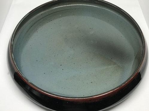 Plat vintage en céramique dégradé de bleu