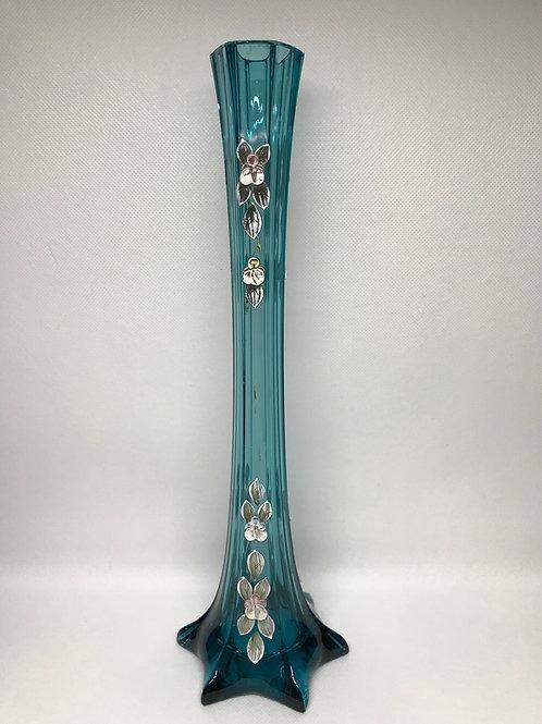 Soliflore bleu à fleurs émaillées, Bohème