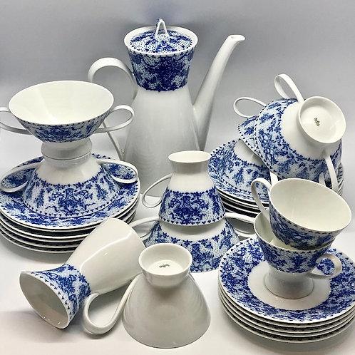 Service à café Rosenthal bleu et blanc vintage
