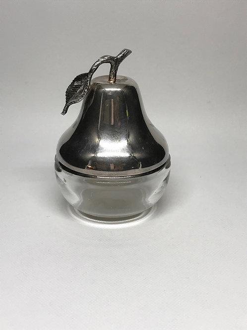 Boîte poire vintage en verre et métal argenté