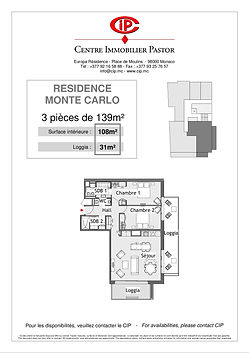 Residence Monte Carlo 3 pieces 139 m2 ty