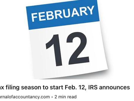 Filing season starts February 12th.