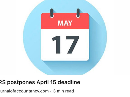 The IRS has postponed the 1040 deadline to May 17th.