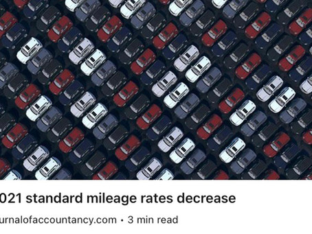 2021 standard mileage rates have been released.
