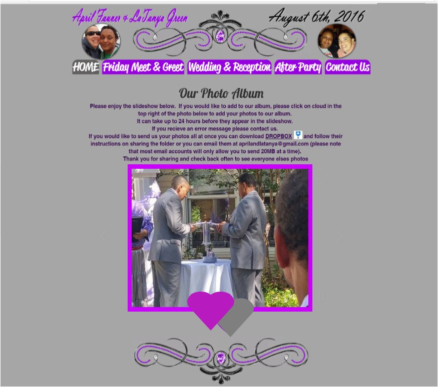 April and LaTanya Wedding Website