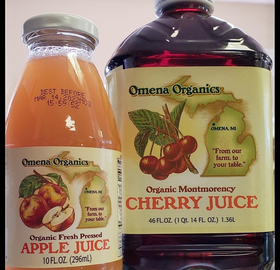 Refreshing apple juice and Tart Cherry juice