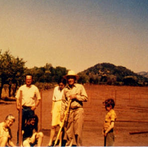 Warren Winiarski and family at first planting at Stag's Leap Vineyard, later known as the Paris Tasting Vineyard