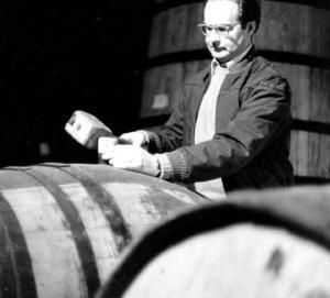 Winariski in the barrel room at Stag's Leap Wine Cellars