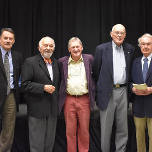 "Roger Boulton, Narsai David, Hugh Johnson, Robert Thompson, Warren Winiarski at ""The Emergence of Modern California Wine"" event at UC Davis Library on November 8, 2017"