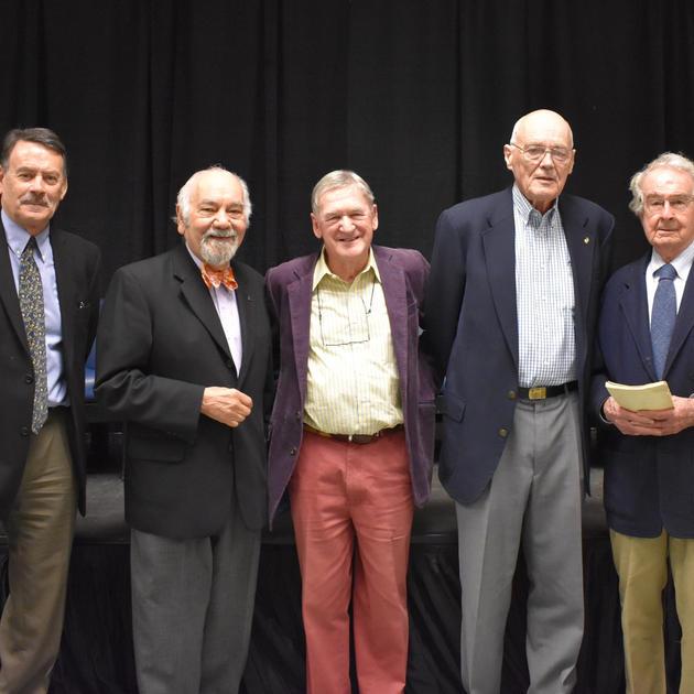 "Roger Boulton, Narsai David, Hugh Johnson, Robert Thompson, Warren Winiarski at ""The Emergence of Modern California Wine"" event at UC Davis Library on November 8, 2017"
