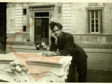 "#18 Piazzale Donatello, 1953, with his Italian ""limo"", a Vespa, in background"