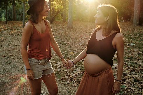 A closeup of a pregnant lesbian couple d