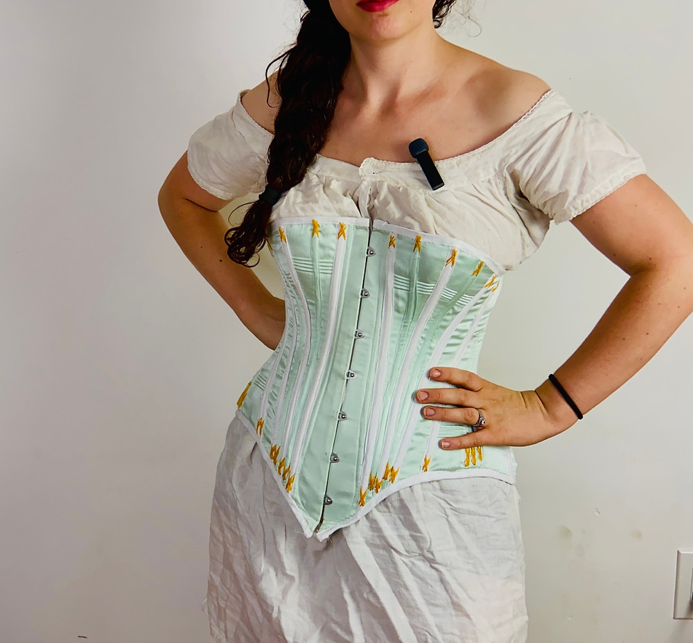 Victorian corset corded light blue silk yellow flossing spoon busk pattern drafted pattern historical
