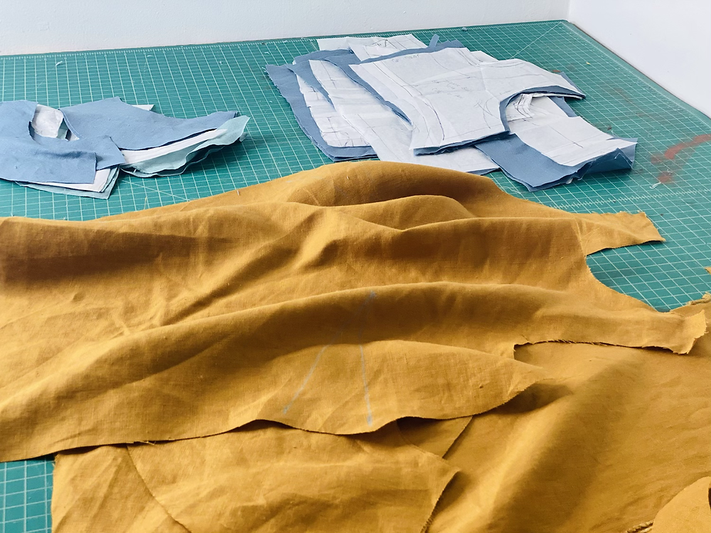 gold blue yellow linen shirt making sewing project cutting cutting mat rotary cutter pattern