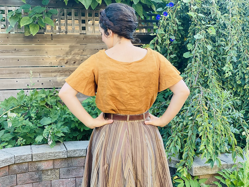 historical shirt making hand made linen gold ginger flared sleeves star wars silk striped skirt brown