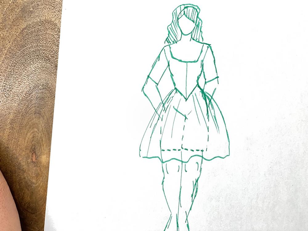 Swim dress corset suit 18th century bathing pattern sewing