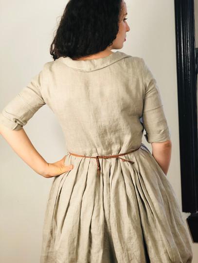 Back view maternity shirt-dress