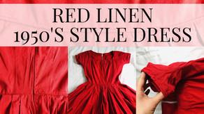 Fifties Style Dress - Red Linen Fabric