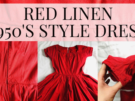 Fifties Style Dress - Red Linen Fabric