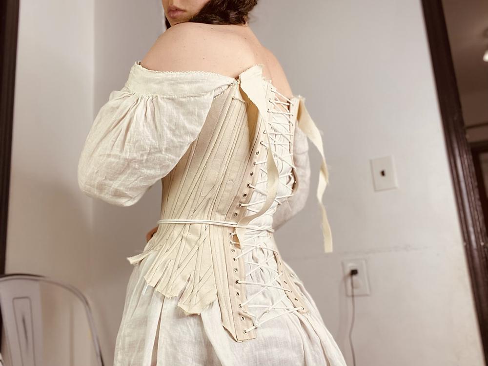 18th century stays mock-up corset beige canvas
