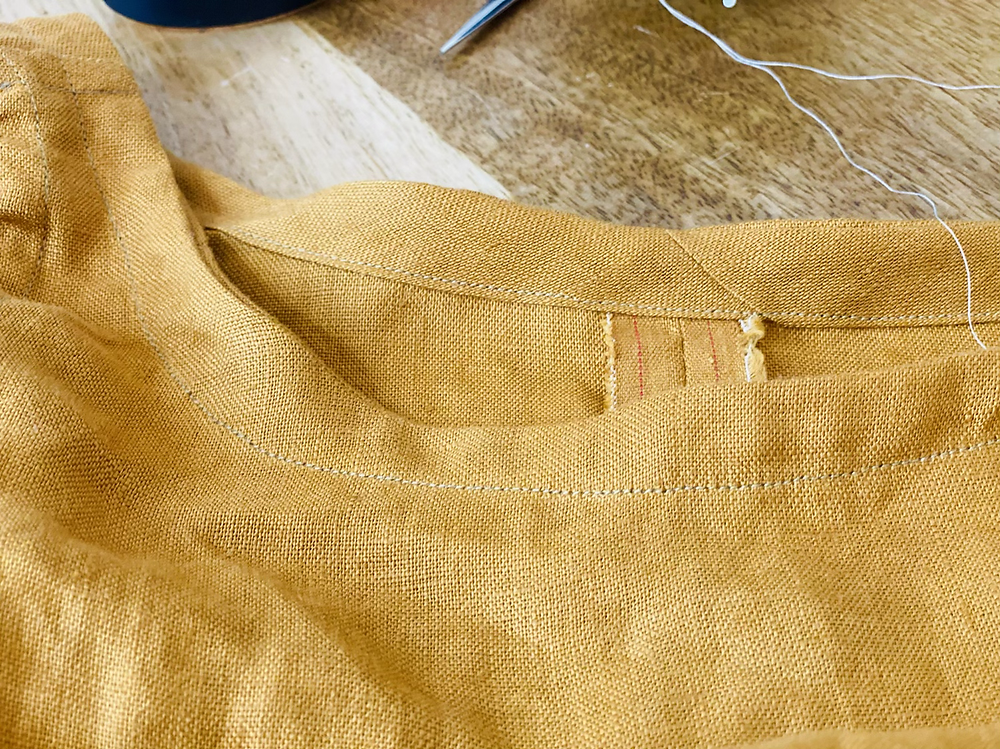 historical shirt making hand made linen gold ginger flared sleeves star wars flared sleeves flutter self drafted how to draft t shirt sew bias tape neckline