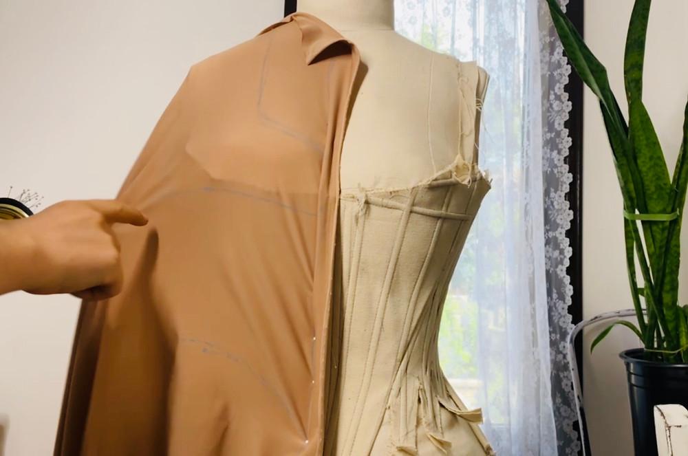 Swim dress corset suit 18th century bathing pattern sewing draping dress form