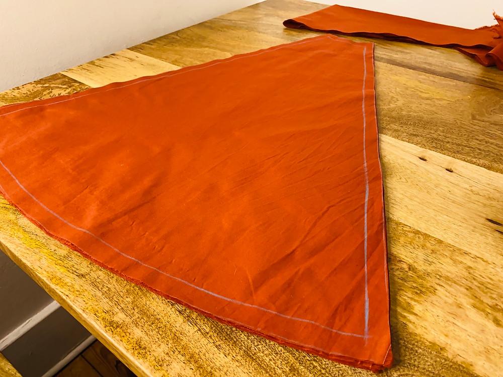 circle skirt burnt orange modes4u poplin cotton self drafted a line gores knee length queens gambit fifties