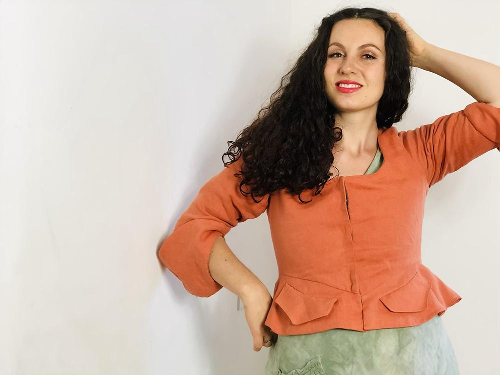 eighteenth 18th century jacket corset stays orange