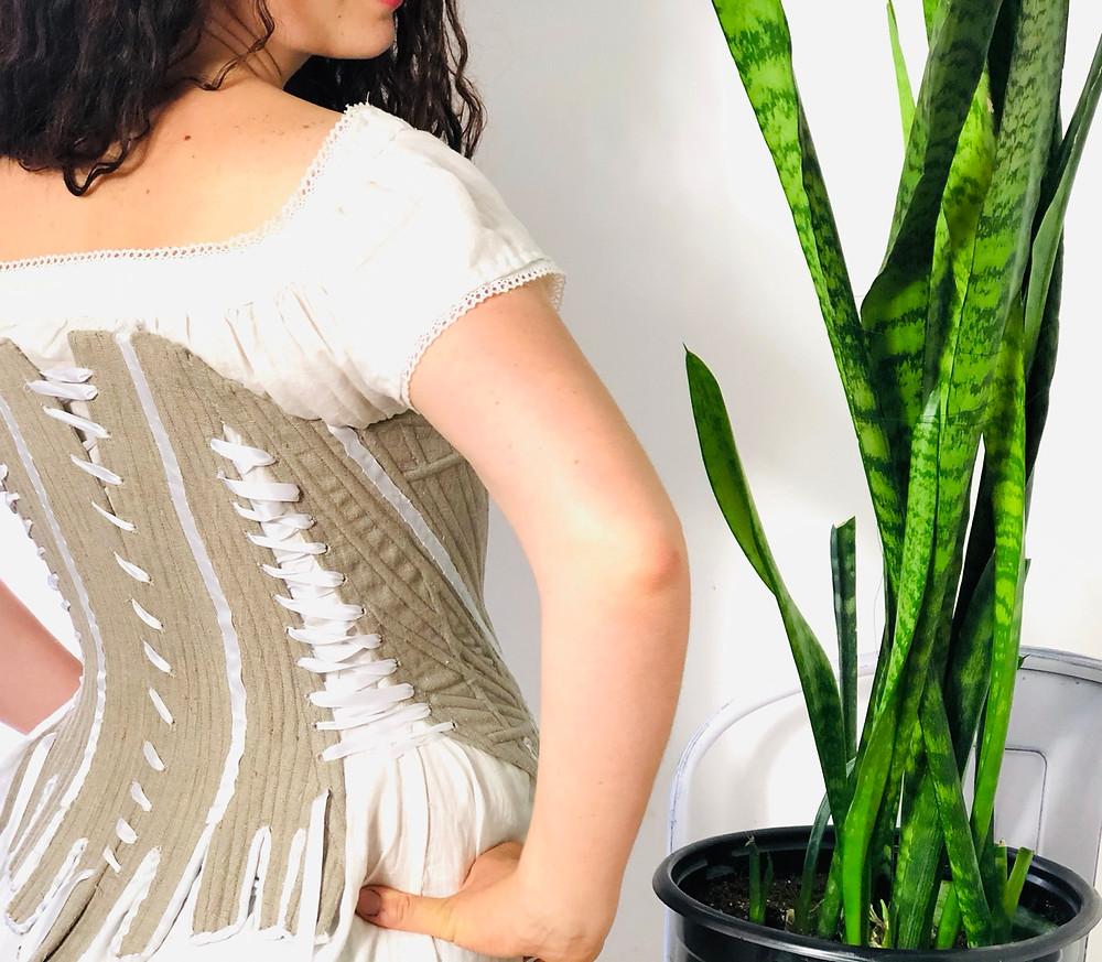 maternity corset stays 18th century eighteenth side lacing jill salen boning channels reed linen