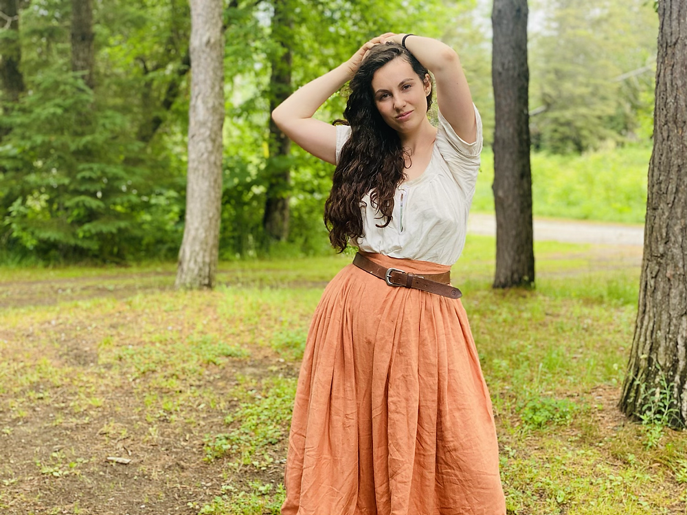 orange skirt pleated hand made linen historical 18th century outlander history bounding cottage core