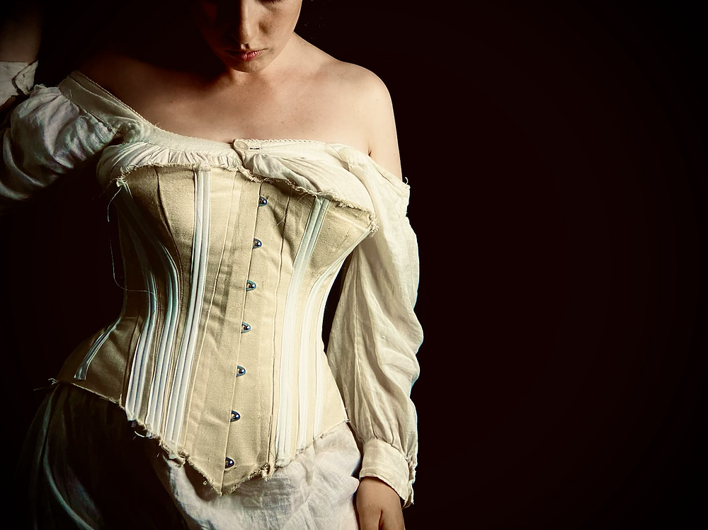 corset mock-up victorian busk spoon busk canvas beige white stays and corsets mandy barrington